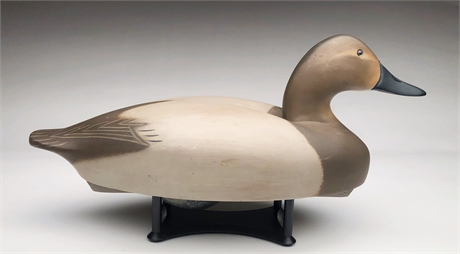 Hollow carved canvasback hen, Wildfowler Decoy Factory, Old Saybrook, Ct