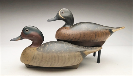 Green wing and blue wing teal drakes, Wildfowler Decoy Factory.
