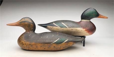 Pair of early mallards, Mason Decoy Factory, Detroit, Michigan.